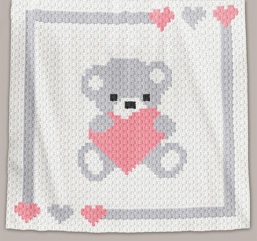 Free Crochet Baby Blanket Graph Patterns : Crochet Pattern Baby Blanket - Sweet Heart - C2C (Chart)