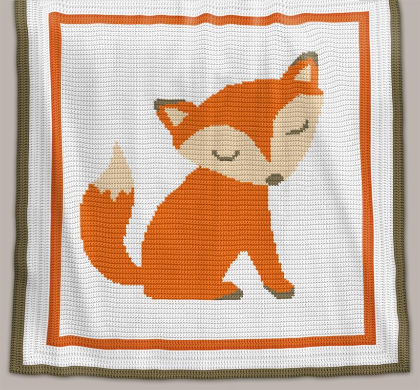 Crochet Pattern Baby Blanket Fox Chart