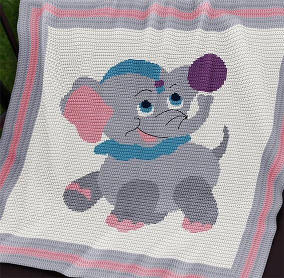 Crochet Pattern Baby Blanket Circus Baby Elephant